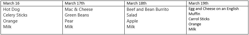 School Lunch 3/16-3/19