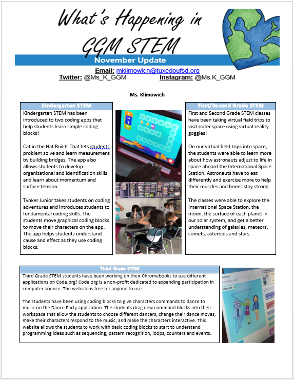 STEM Newsletter Page 1