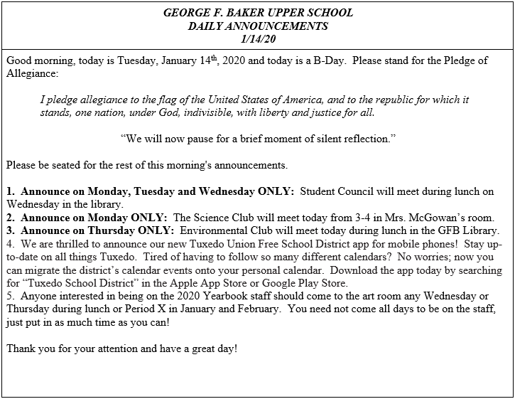 Daily Announcements 1/14/2020