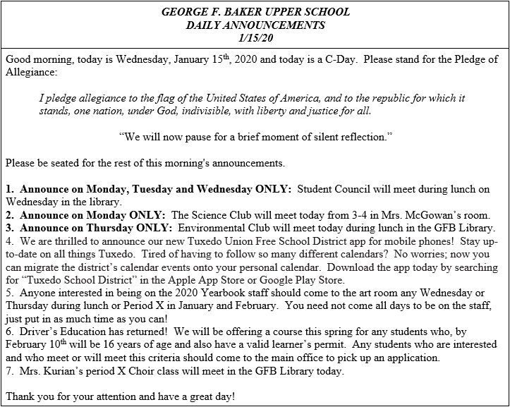 Daily Announcements 1/15/2020