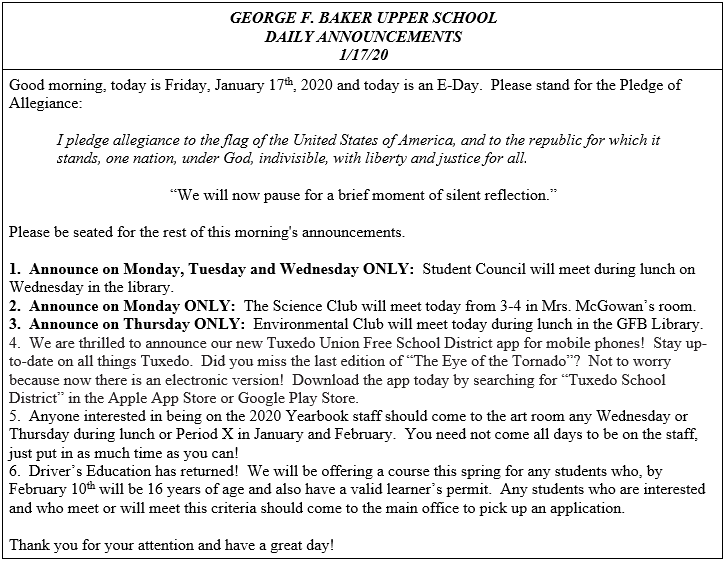 Daily Announcements 1/17/2020