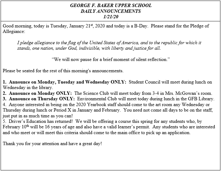 Daily Announcements 1/21/2020