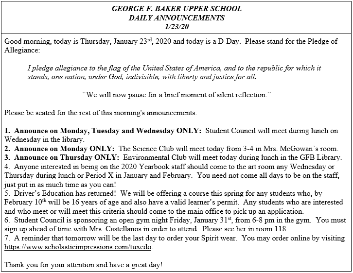 Daily Announcements 1/23/2020
