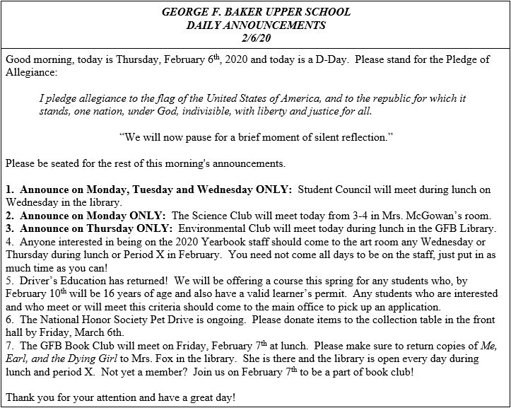 Daily Announcements 2/6/2020