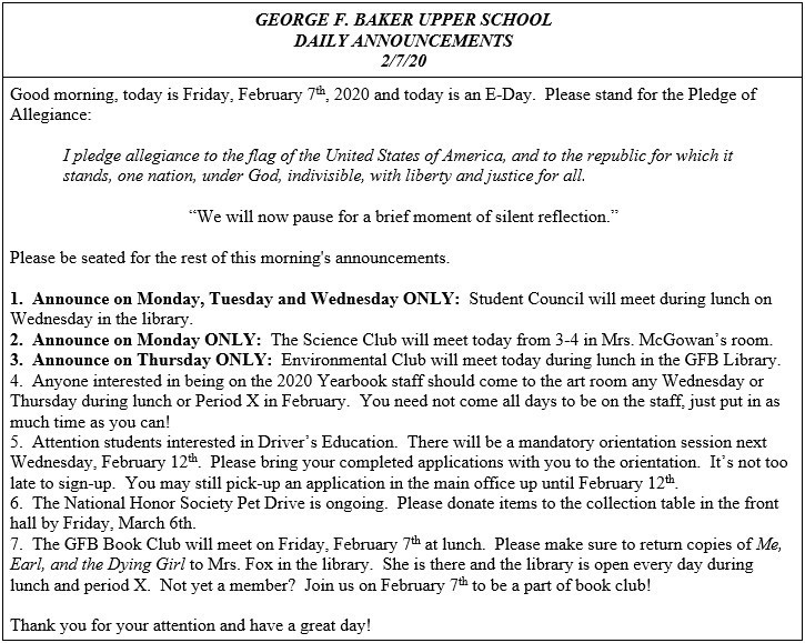 Daily Announcements 2/7/2020