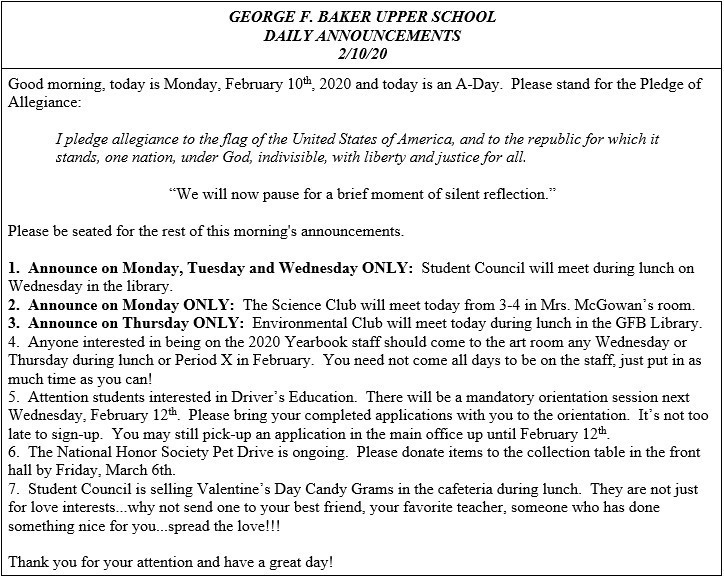 Daily Announcements 2/10/2020