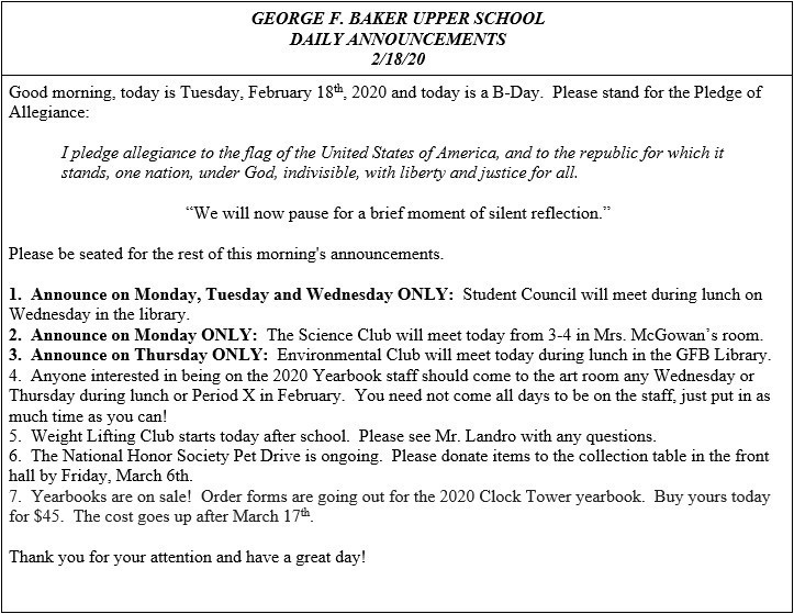 Daily Announcements 2/18/2020
