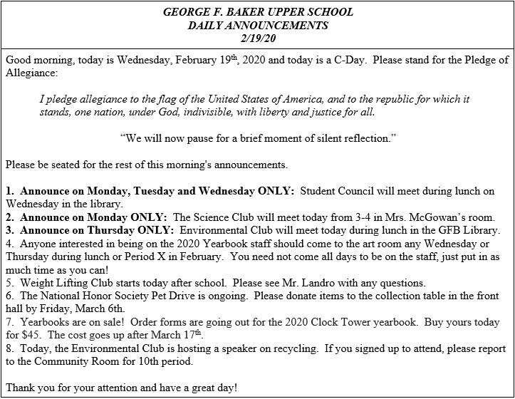 Daily Announcements 2/19/2020