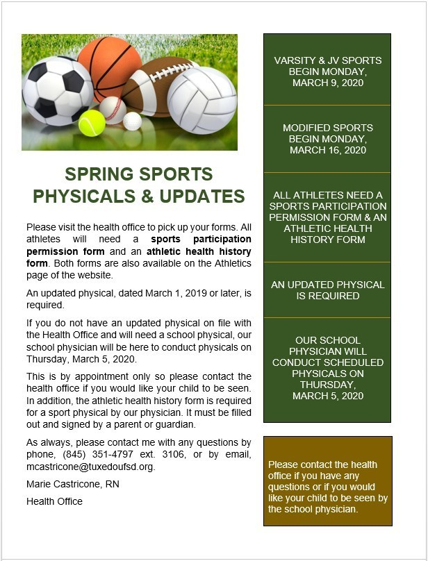 Spring Sports Physicals and Updates