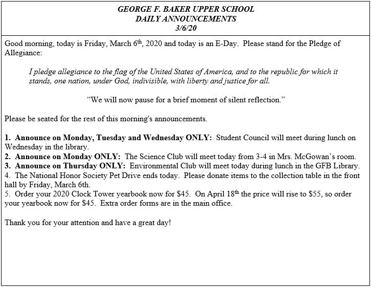 Daily Announcements 3/6/2020