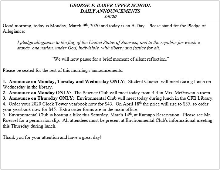Daily Announcements 3/9/2020
