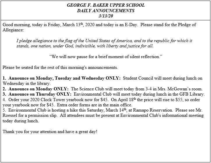 Daily Announcements 3/13/2020